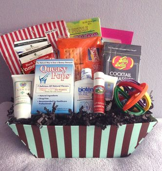 Chemotherapy Gift Basket for Male Chemo Patients. It's packed with lot of items to lift the patient's spirit and reduce the side effects of chemo treatments – small size. Order Online today.