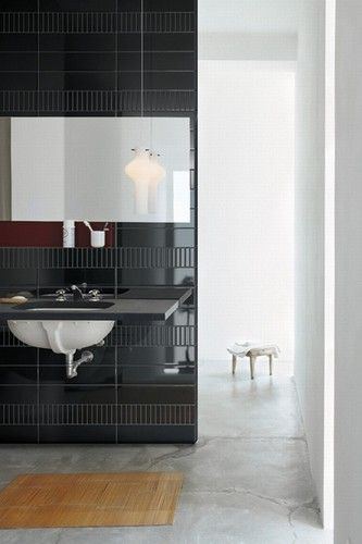 black tile bathroom