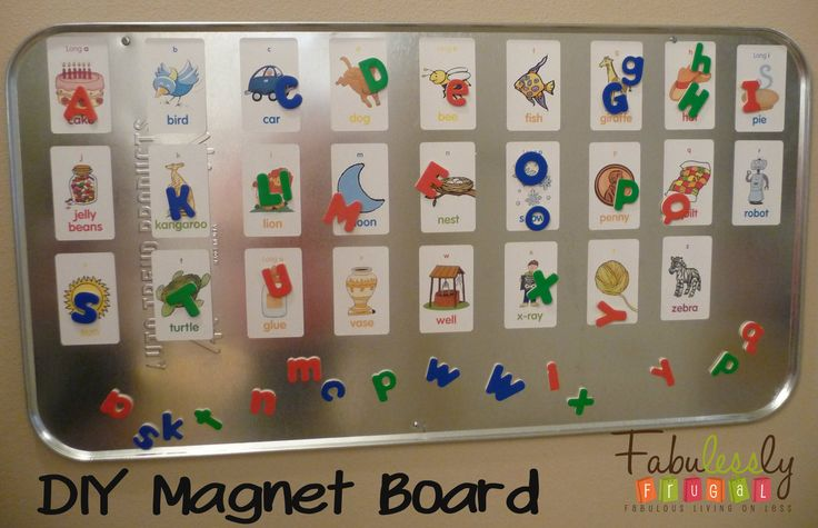 DIY Magnet board. Great educational tool for kids. I think I am going to do this because it would be such a great gift. Oh, and I can do it for numbers too.