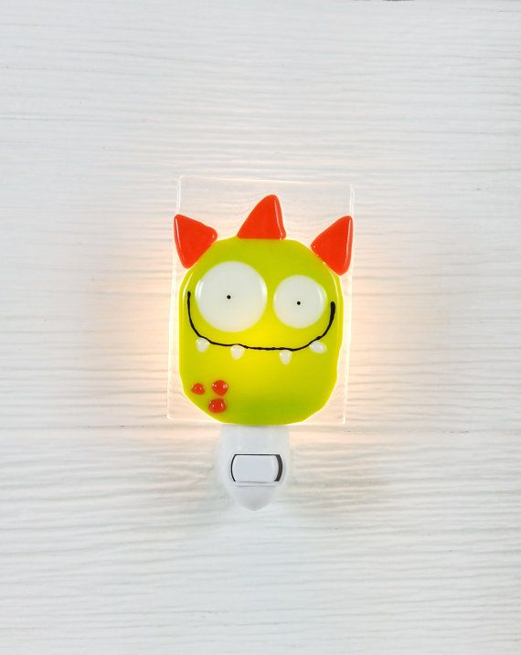 Nightlight monster light green baby room by VeilleSurToi on Etsy