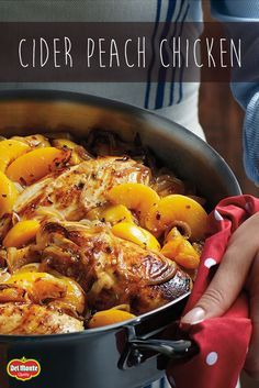 Elevate everyday chicken breasts with this Cider Peach Chicken recipe. Rosemary scented peaches combine with cider vinegar to create a sweet, tangy taste your family will love. Done in under 30 minutes, it's one peachy keen dish.