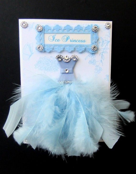 Little Ice Princess Personalized Dress Card  / C6 Size / Handmade Greeting Card