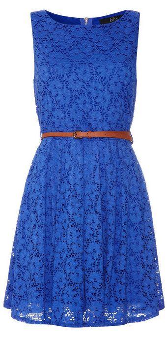 Blue Floral Belted Sleeveless Dress