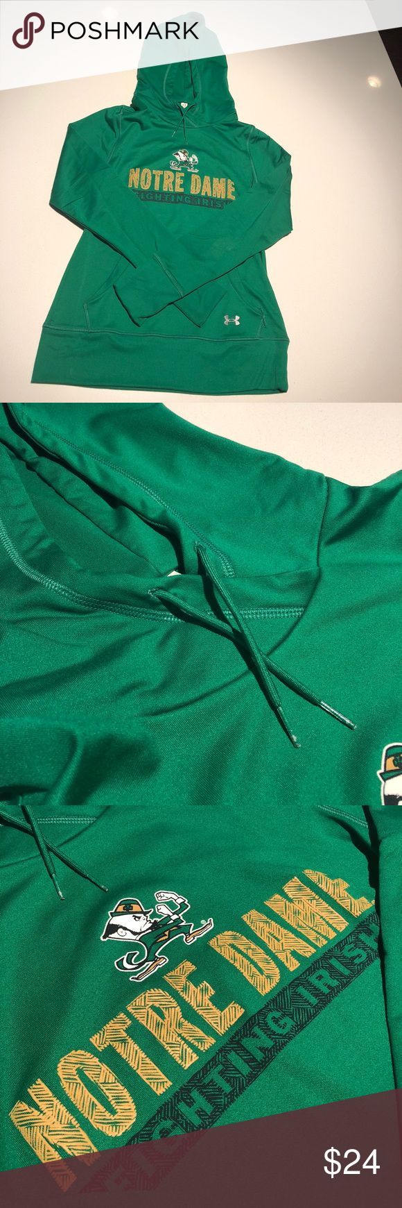 UnderArmour Notre Dame Hoodie Like new, extremely comfortable Notre Dame Fighting Irish UnderArmour Hoodie. Great addition to college football season. There is spandex and Lycra in the fabric count, so it has a slim fit and is very flattering. Not your normal bulkie Hoodie. Size Medium since it has a slim fit and runs a bit small. Opportunity to add an authentic NCAA piece for less :) Under Armour Tops Sweatshirts & Hoodies