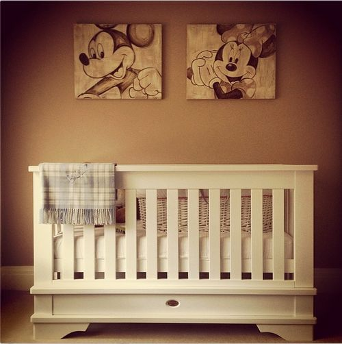 Tom and Giovanna Fletcher's baby's nursery - I LOVE this! The Mickey and Minnie posters are gorgeous!