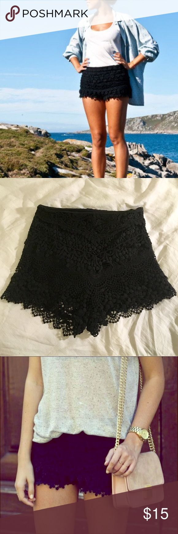 Black crochet shorts Black crochet shorts from urban outfitters Urban Outfitters Shorts