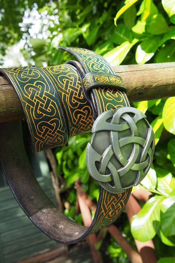 celtic knots belt leather celtic belt metal by PocillatorWorkshop