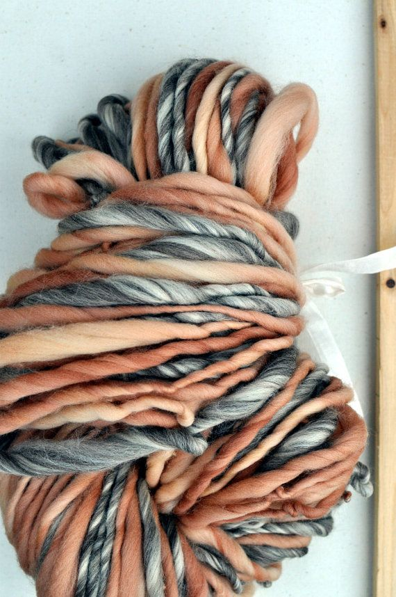 Erased Peach Handspun Yarn Bulky Tan Brown Cream Peach 8 by YOSPUN