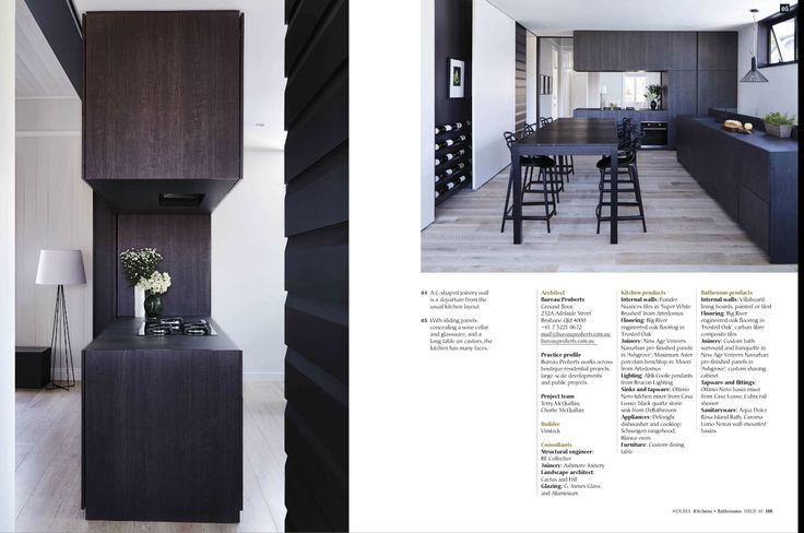 """HOUSES Kitchens + Bathrooms article. New Age Veneers Navurban™ Ashgrove ...making a kitchen look """"as little like a kitchen as possible"""" was the driving force for architect Terry McQuillan of Bureau Proberts and his wife, Charlie, an interior designer....."""