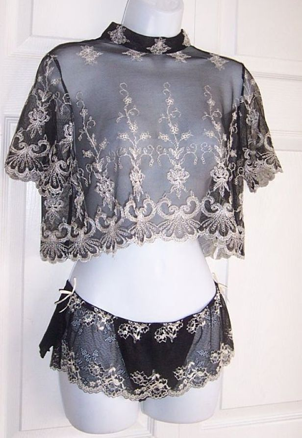 Vintage sheer black embroidered top and brief - that lace is amazing!