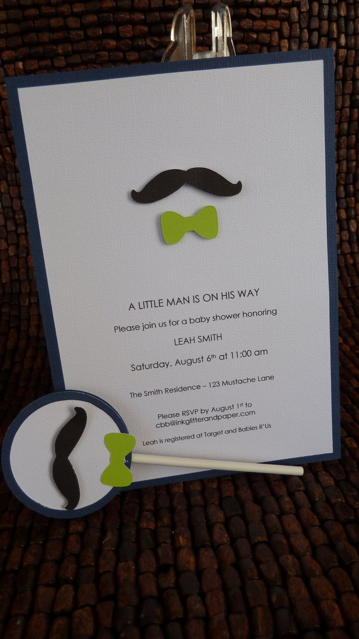 Mustache And Bow Tie Baby Shower Invitations Part - 42: Mustache And Bow Tie Baby Shower Invitation By Inkglittlerandpaper
