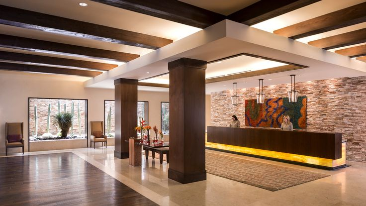 - The contemporary, desert-inspired hotel lobby welcomes guests to a true luxury experience in Palm Springs.