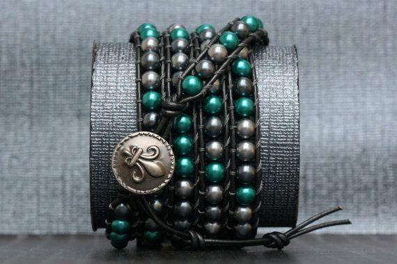 zigeuner sieraden parel wrap armband-grijs en door CorvusDesign