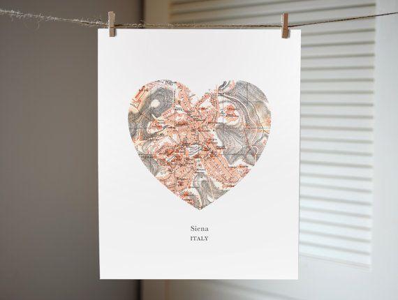 Siena Italy Heart Map Print Italy Art Print Italy by AGierDesign