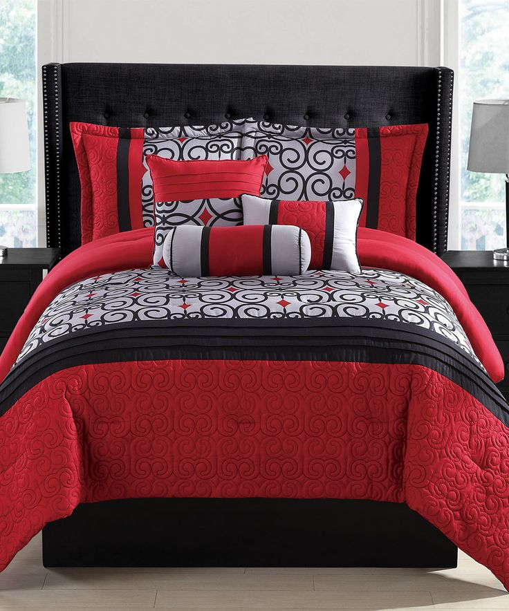 Another great find on #zulily! Red & Gray Amaris Comforter Set by S.L. Home Fashions #zulilyfinds
