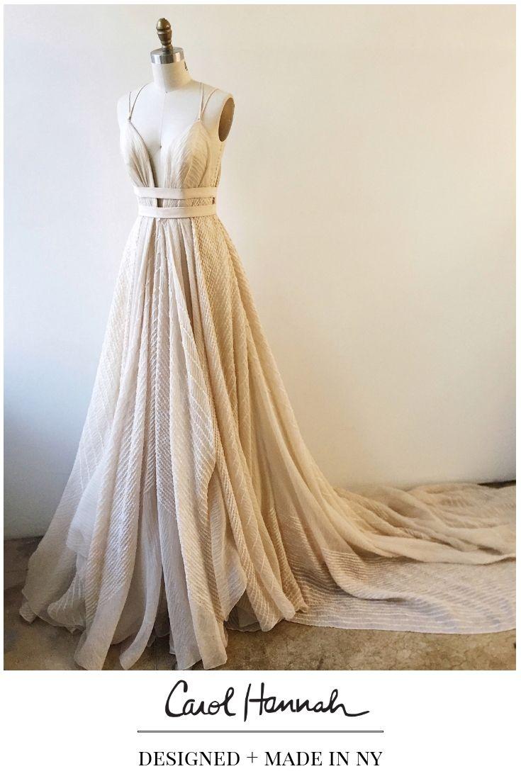 Blush And Champagne Textured Striped Wedding Gown Nontraditional Wedding Dress Weird Wedding Dress Striped Wedding
