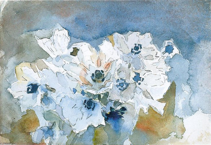 Fleurs, aquarelle de Mikhail Vrubel (1856-1910, Russia)