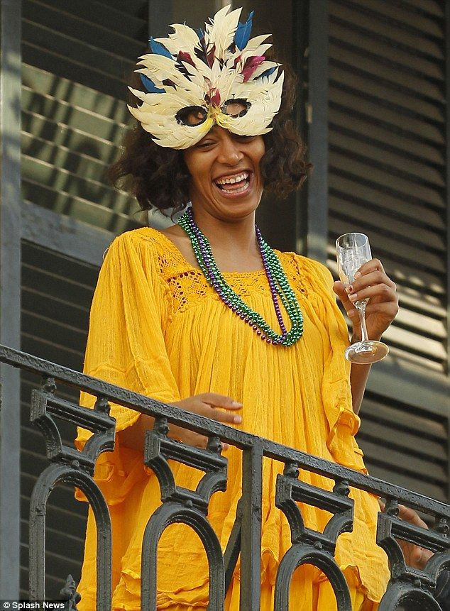 Getting into the spirit of things: It may be nine days away, but Solange Knowles was already embracing the spirit of Mardi Gras in New Orleans, on Sunday afternoon