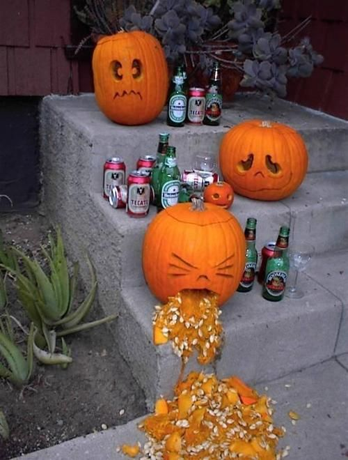 he carved a pumpkin throwing up but the bottles and cans make it so much funnier