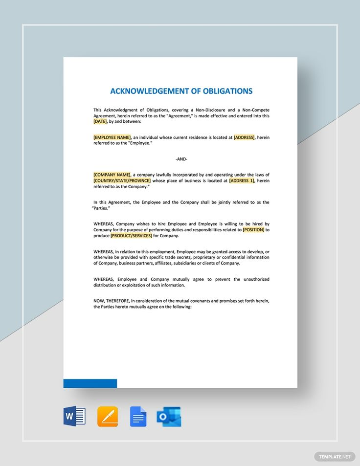 Acknowledgment Of Obligations Template in 2020 Letter of