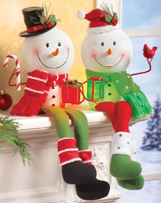 """Lighted Snowman Shelf Sitter Holiday Decoration - With their smiling faces and dangling legs, each features a glittery """"snow"""" finish and a colorful lighted gift box. Each includes 3 button cell...  #Christmas"""