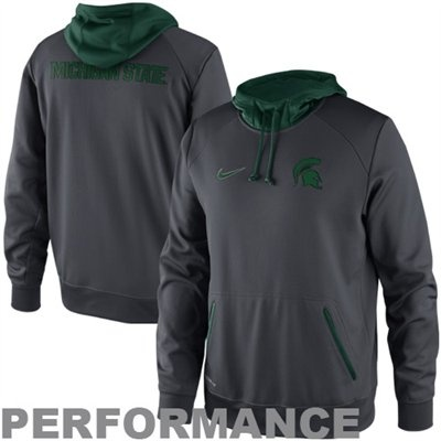 Nike Michigan State Spartans Basketball Pullover Performance Hoodie - Anthracite $69.95