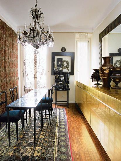 Egyptian Interior Style Brings Beautiful Oriental Rug And Curtain Fabric Into Modern Dining Room Decor