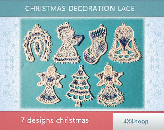 Christmas lace decoration - FSL - No.227 - 4x4hoop - Machine embroidery digitization./INSTANT DOWNLOAD