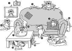 Wo sind die Katzen? Präpositionen mit Akkusativ oder Dativ.