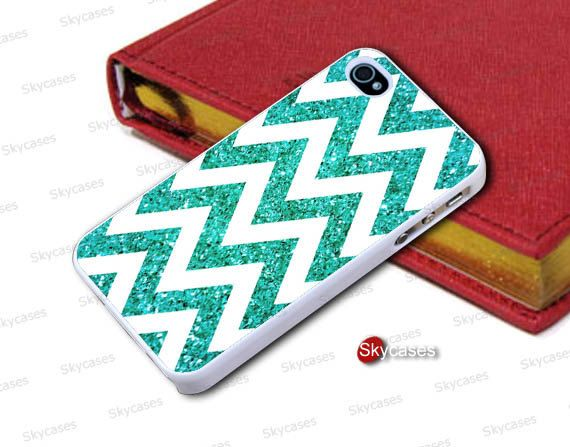 Turquoise chevron wavy lines shell iphone 4 s mobile by skycases, $7.99