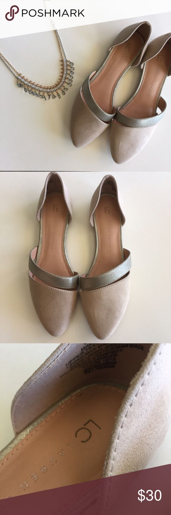 LC Lauren Conrad nude and silver pointed toe flats Excellent condition LC Lauren Conrad nude and silver pointed toe flats. No signs of wear. Size 7.5 LC Lauren Conrad Shoes Flats & Loafers