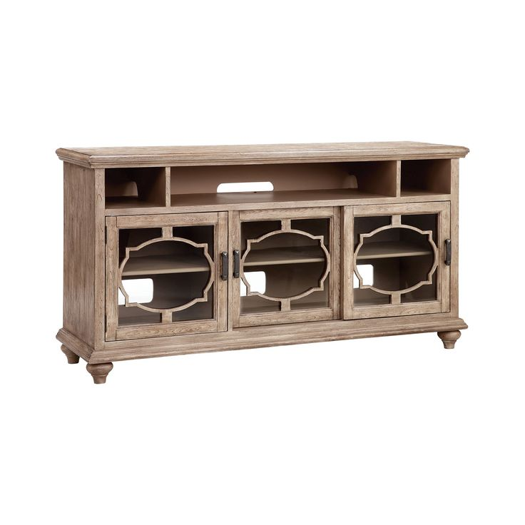 64-Inch Entertainment Console In Soft Brown side panel color