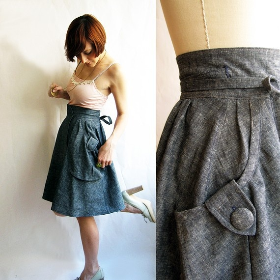 Wrap around skirt with large pockets. Apparently there is no tutorial on how to make this, so I'll just have to figure it out myself...