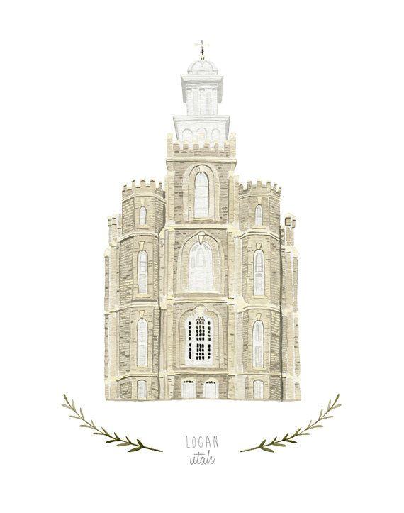 Logan Utah LDS Temple Illustration Archival Art by HeatherMettra