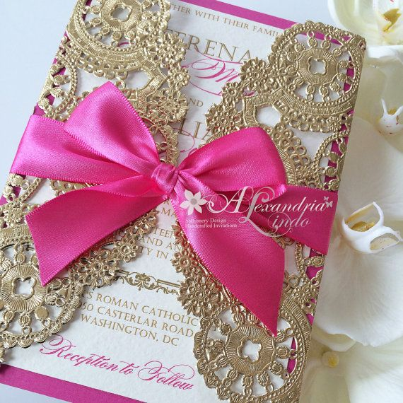 hot pink fuschia Invitation by AlexandriaLindo on Etsy