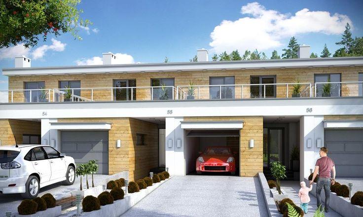 DOM.PL™ - Projekt domu Mój dom Irga II szeregówka z garażem CE - DOM BR6-59 - gotowy projekt domu