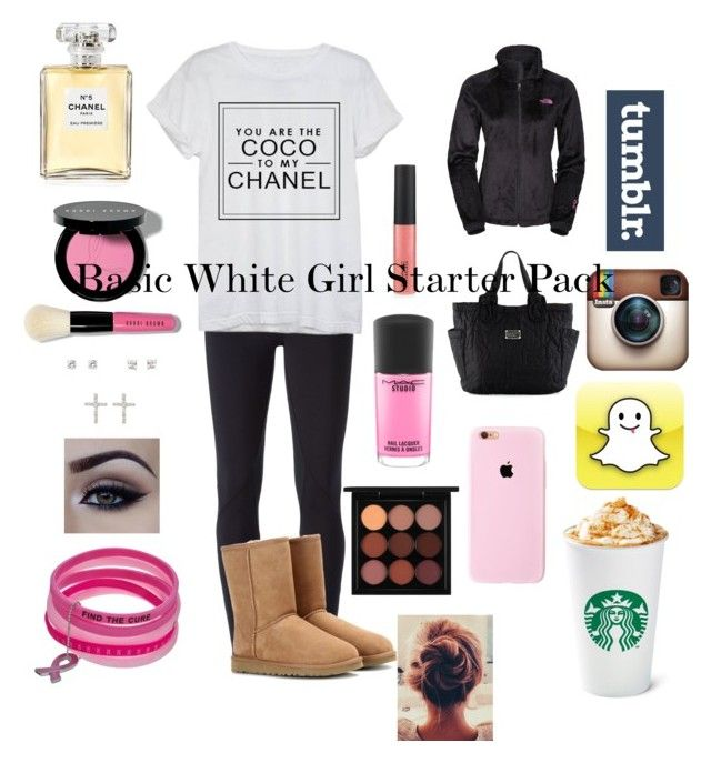 """""""Basic White Girl Starter Pack: Winter"""" by bamagatortigerbuckeye ❤ liked on Polyvore featuring NIKE, UGG Australia, Chanel, The North Face, Marc by Marc Jacobs, Icz Stonez, Bobbi Brown Cosmetics and MAC Cosmetics"""
