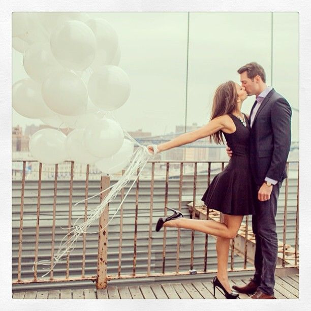 fun engagement photo! With wedding color balloons  http://www.pinterest.com/JessicaMpins/