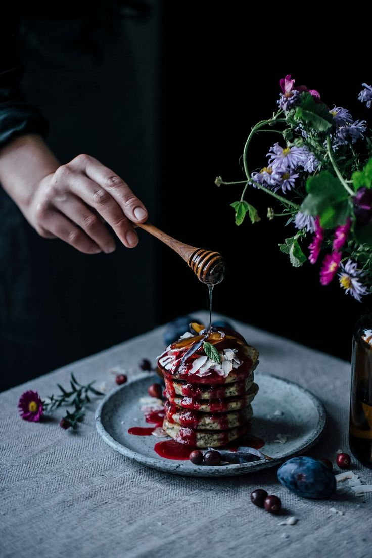 our food stories: glutenfree poppyseed goat cheese pancakes with cranberry sauce for stefanie luxat's new book herzlich willkommen