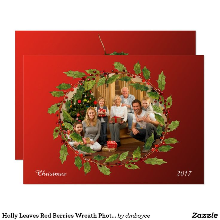 company christmas party invitation templates%0A Holly Leaves Red Berries Wreath Photo Christmas Card