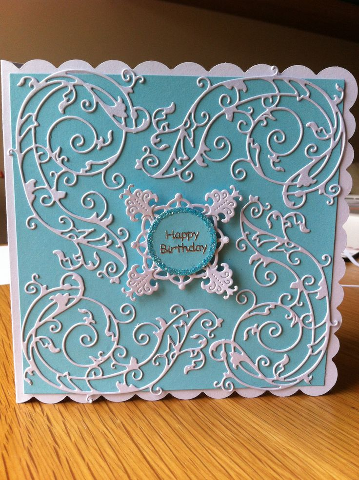 Card made using the tattered lace large flourish die (free with tattered lace magazine volume 6)