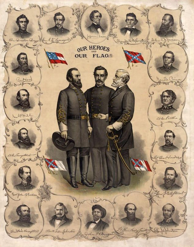 Our Most Beloved Sons of the South  Robert E. Lee, Stonewall Jackson, and P.G.T. Beauregard. The other generals are pictured around the outer edge of the leaf, forming a frame for the three in the center. The lithograph also shows the Confederate National Flags, and the Battle Flag of the Army of Northern Virginia. The top center portion features a portrait of Jefferson Davis. This is an absolutely stunning piece