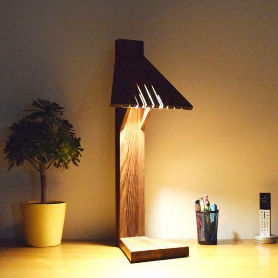 lampe de bureau, design, luxe, en bois massif, éclairage LED: ABANI