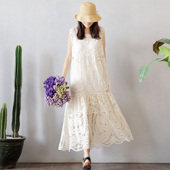 Retro Mori Girl Floral Embroidery Full Lace Pendant Dress Women Hollow Summer Long Maxi Dresses Hippie Boho Tunique Robe Mujer