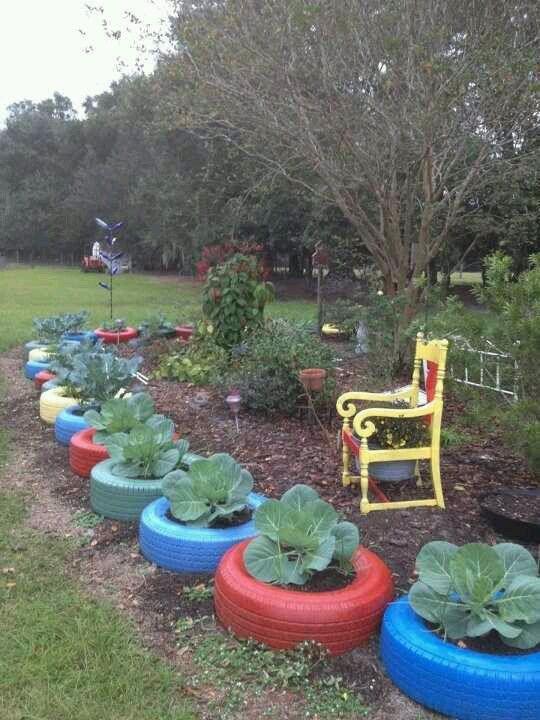 Recycled (car/truck) Tire Gardens | Tire garden, Garden ...