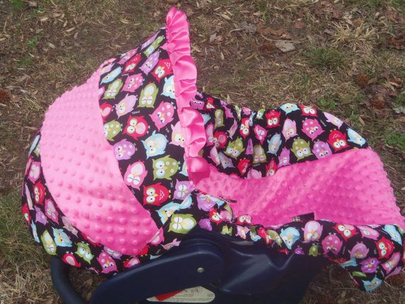 Owl pink Minky baby car seat cover infant seat by pinkbandit2, $44.00