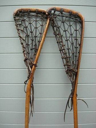 Antique Lacrosse sticks..  Handmade of hickory wood and leather.