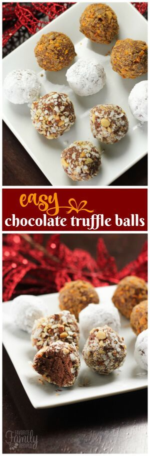 These Crazy Easy Chocolate Truffle Balls only have three ingredients for the smooth creamy chocolatey peanut buttery center. Then they can be rolled around in a variety of outside layers. Some of my favorites to roll them in are powdered sugar, roasted almonds, toasted coconut, cocoa powder, crushed Butterfingers, chopped pecans, chopped hazelnuts, or dipped in chocolate. via @favfamilyrecipz