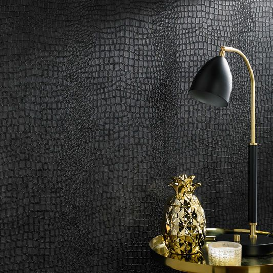 Crocodile Black Wallpaper, , large