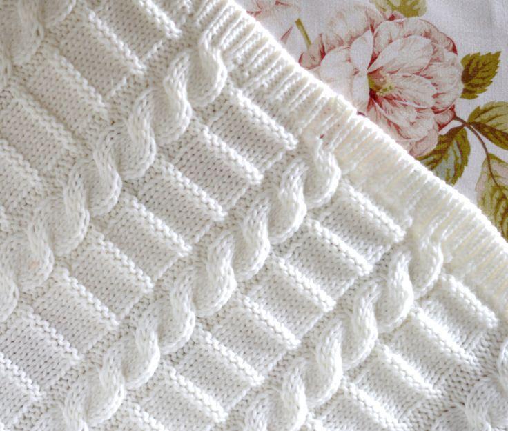 Knitting pattern afghan baby blanket 3 Sizes Easy Beginner